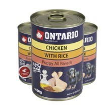 Ontario konzerva Puppy Chicken, Rice, Linseed Oil 400 g