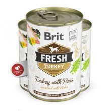 Brit Fresh Dog konzerva Turkey with Peas 400 g