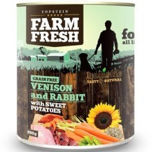 Farm Fresh konzerva Venison & Rabbit with Sweet Potatoes 400 g