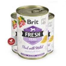 Brit Fresh Dog konzerva Veal with Millet 400 g