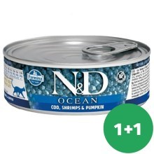 N&D Cat Ocean Adult Tuna & Codfish & Shrimps & Pumpkin 80 g SET 1+1 ZADARMO