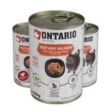 Ontario Cat konzerva Beef, Salmon, Sunflower Oil 400 g