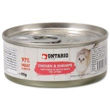 Ontario Cat konzerva Kitten Chicken Pieces & Shrimp 95 g